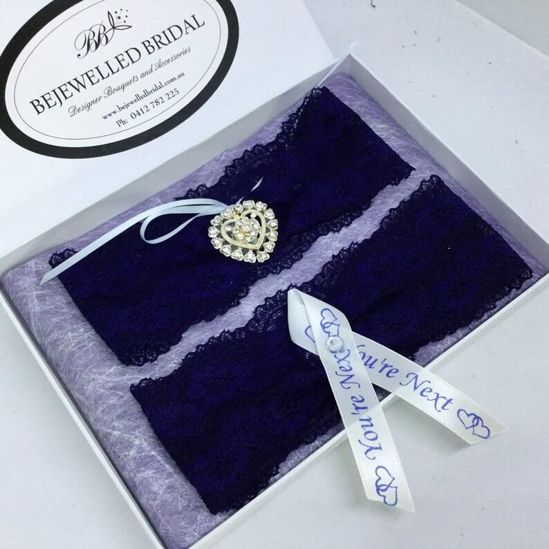 Navy Lace /& Bling Bridal Garter HELEN