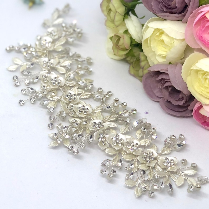 Bling Headpiece AVA Silver Hair Piece Bridal Headpiece Crystal Hair Piece Wedding Headpiece