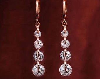 DEHLIA - 18K Rose Gold Swarovski Drop Earrings