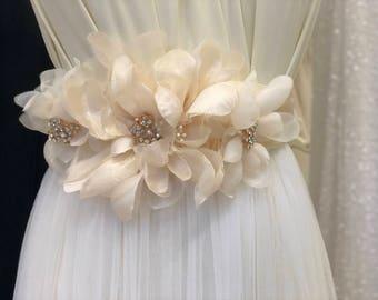CORDELIA - Wedding Bridal Flower Sash Belt - Champagne with Bling