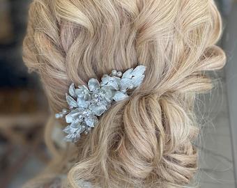 Silver Hair Comb, Silver Bridal Hair Comb, Wedding Hair Comb, Silver Bridal Hair Piece, Wedding Hair Piece - ANDREA SILVER