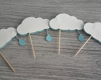 Cloud with Rain Drop Cupcake Toppers