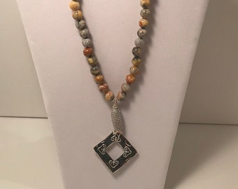 Lace Agate and Crystal CZ Pendant Necklace