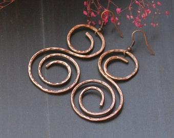 Hammered Copper Hoop Earrings Wire Wrapped Earrings Hammered Long dangle earrings Oxidized Copper Mixed Metal Earrings Artisan Earrings