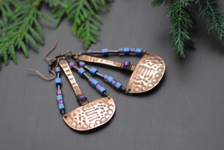 Handgefertigte Kupfer Ohrringe Kupfer Schmuck Draht gewickelt