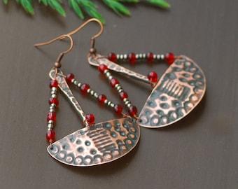 Red Gold Copper Chandelier Earrings Copper Jewelry Wire Wrapped Earrings Hammered Long dangle earrings Oxidized Copper Mixed Metal Earrings