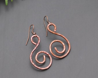 Rustic Jewelry Copper Spiral Earrings Small Earrings Everyday Jewelry  Copper Anniversary Gift Copper Earrings Oxidized Copper Jewelry Small