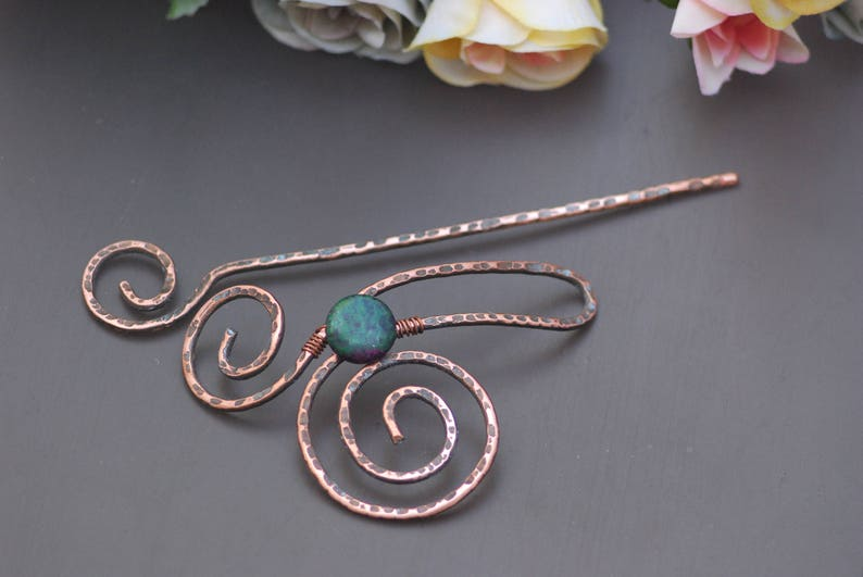 Copper shawl pin Hair barrette Hair stick Brass hair slide Women Gift for Mom Wedding hair slide Bridal hair jewelry Brooch celtic heart