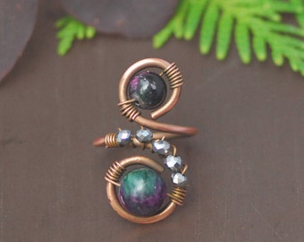 Tourmaline crystal copper ring Wire wrapped ring Copper ring Adjustable ring Womens copper ring Womans copper ring Copper jewelry