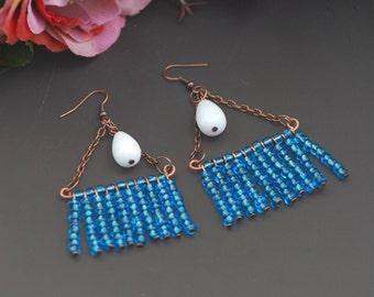 Blue white copper Long earrings Copper wire earrings Minimalist copper Handmade copper Earrings copper Jewelry wire earrings Stud earrings