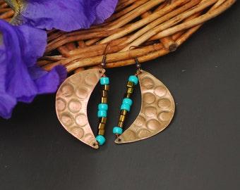 Copper Jewelry Wire Wrapped Earrings Hammered Copper Handmade Copper Earrings Copper wire wrapped earrings Long swirl dangle earrings