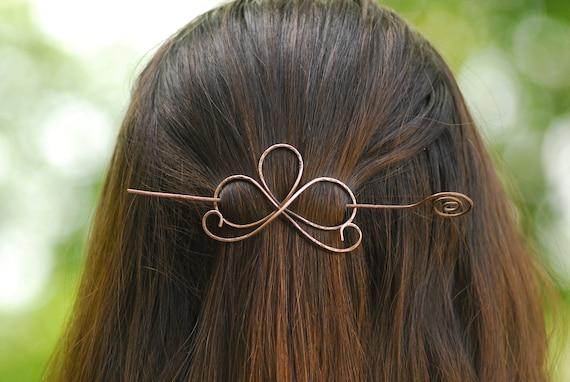 Metal hair accessory Hair slide Hair barrette Hair pin Antique copper hair Wire wrapped pin Wire hairstick beaded Wire hair accessories