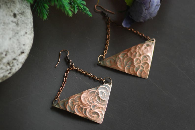 Copper Anniversary Gift Metal Jewelry Rustic Jewelry Hand image 0