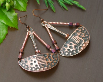 Burgundy Gold Copper Earrings Copper Jewelry Wire Wrapped Earrings Hammered Long swirl dangle earrings Oxidized Copper Mixed Metal Earrings