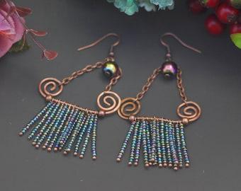 Long earrings with blue beads Copper Stud Earrings Copper Earrings Oxidized Squiggle Handmade Copper Earrings Copper Jewelry Wire Wrapped