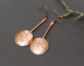 Copper Anniversary Gift Metal Jewelry Rustic Jewelry Hand Hammered Copper Hoop Earrings Wire wrapped Earrings handmade Hand Forged Rustic
