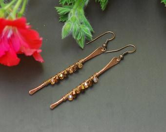 Hammered Copper Earrings Oxidized Copper Organic Copper Long Bar Earrings Boho Earrings Copper Hoop Earrings Artisan Earrings Steam punk