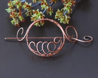 Hair Accessories Copper Hair Barrette Bun Holder Hair Slide Hair Pin Hair Stick Hair Sticks Rustic copper accessories Shawl pin Scarf brooch