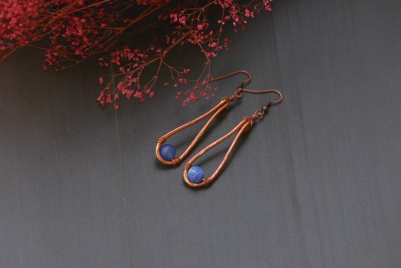 Purple Agate Copper Earrings Copper Jewelry Wire Wrapped Earrings Rustic Hammered Long dangle earrings Oxidized Copper Mixed Metal Earrings