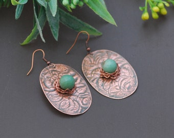 Rustic textured copper Hammered earrings Artisan earrings antiqued Copper earrings Antique copper natural Copper wire wrapped earrings
