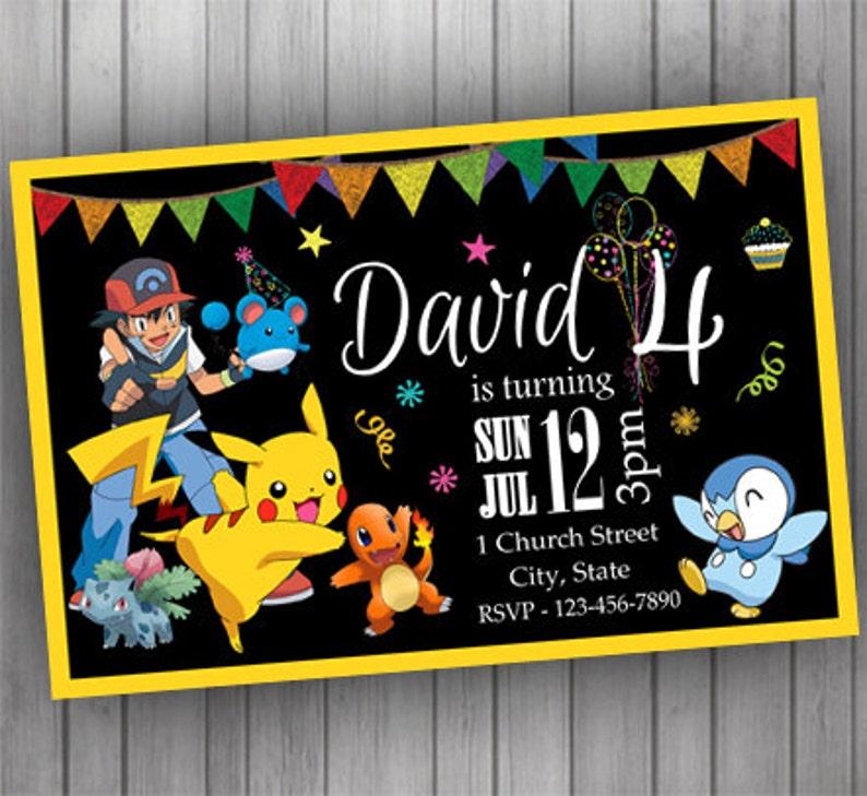 Pokemon Invitation PERSONALIZED Birthday Chalkboard Digital Printable Baby Shower