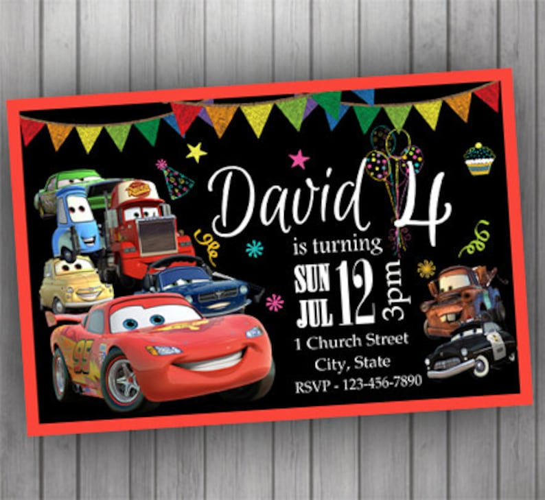 Cars Invitation PERSONALIZED Lightning McQueen Tow Mater