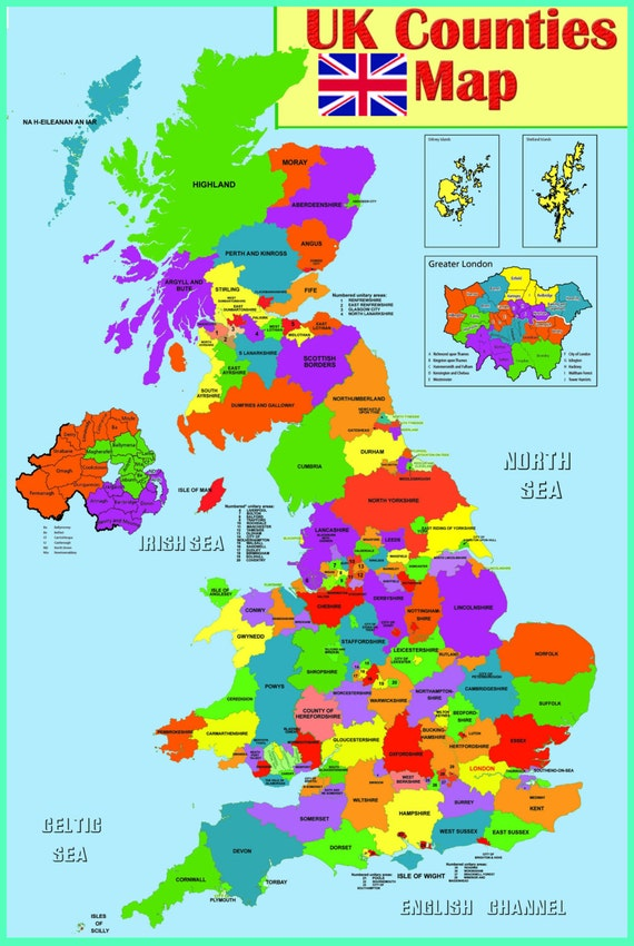 uk map for kids Laminated Uk County Map Learning Kids Educational School Type Etsy