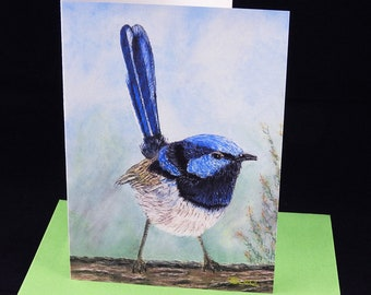 Little Blue Wren Greeting Card