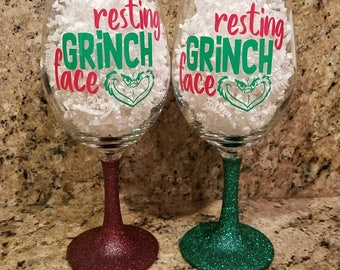 Resting Grinch Face, Glittered Wine Glass