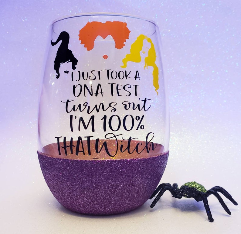 Just took a DNA test Hocus Pocus Halloween Wine Glass Glitter Dipped Wine Glass Lizzo wine glass Lizzo Halloween Party -