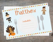 PRINTABLE: Children's Custom Thanksgiving Placemat in Blue with Activity Sheet/Thanksgiving Dinner Mat/Placemat with Activity Sheet/11x17