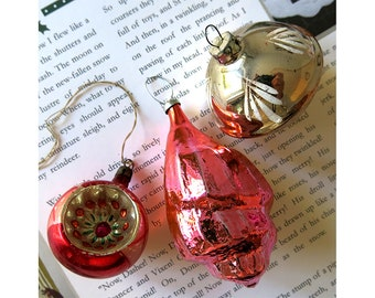 vintage christmas tree baubles 1950s1960s glass christmas decorations pink and gold - Old Christmas Decorations