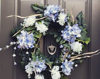 Traditional Blue Hydrangea Wreath