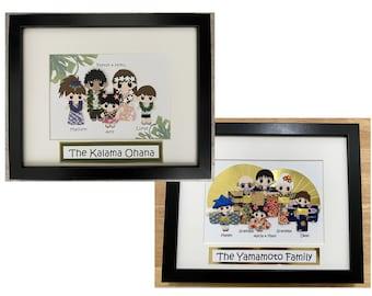 Custom Japanese & Hawaiian style Family Picture Frame