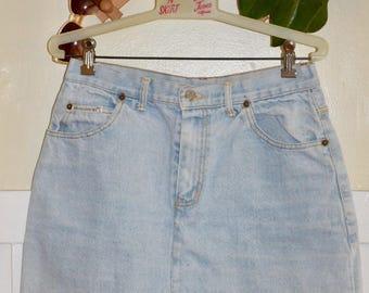 Vintage 80's No Partner Light Blue Wash Denim Jean Mini Skirt - Medium / Large