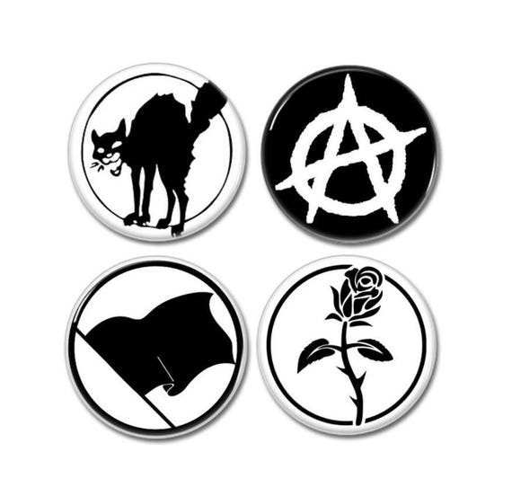 Anarchy Symbols Buttons Set Of 4 Badges Pins Botones Etsy