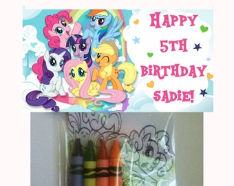 sets of personalized my little pony birthday party favor bags with mini coloring pages and crayons