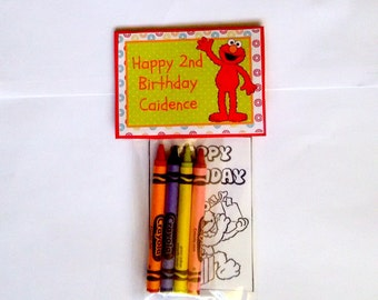 Sets of Personalized Sesame Street Elmo Birthday Party Favor Bags with mini coloring pages and crayons