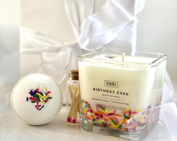 Happy Birthday Gift Set - Bath Bomb - Candle - Matches - Easy Gift - Ready to Gift - Birthday Present