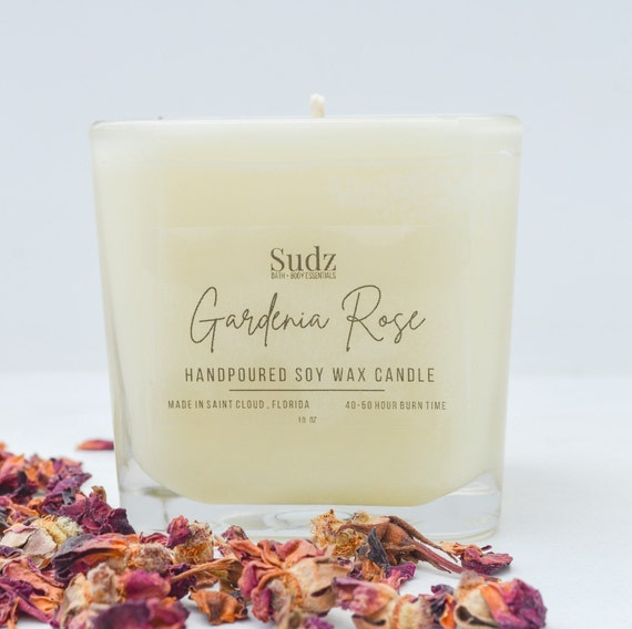 Gardenia Rose Candle - Soy Wax Candle - 40-50 Hour Burn Time - Hand Poured Candle - Relaxing Candle - Rose Gifts - Gifts for Her - Candles