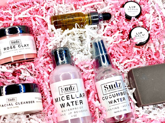 Hydrate + Glow Facial Skincare Collection: Rose Clay Mask, Cucumber Water, Lip Balm + Scrub, Oil Cleanser, Micellar Water, Facial Oil, Soap