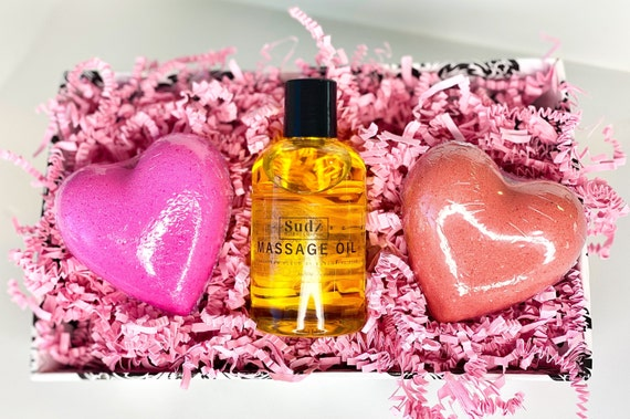 Valentine's Day Gift Set - LIMITED AVAILABLE - Heart Bath Bombs - Massage Oil - Easy Valentine's Day Gift - Gifts for Her - Wife Gifts - Spa