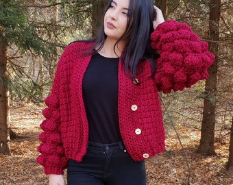 a88ca851a Trendy Bomber Jacket with Bobble Sleeves Chunky Crochet Cardigan Oversized  Sweater Gift for Her