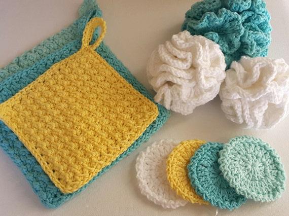 Pdf Crochet Pattern To Make Your Own Spa Bath Scrubbies Set Etsy