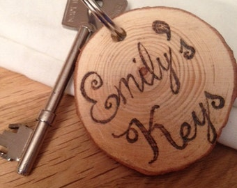 From only 2.00! Freehand Natural wood personalised keyring, Valentines gift, custom keyring, Wooden gift, couples giftt,, friend's gift