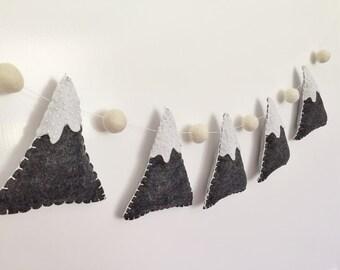 Beaded Felt Mountain Garland / Bunting for wall decor / nursery / woodland theme