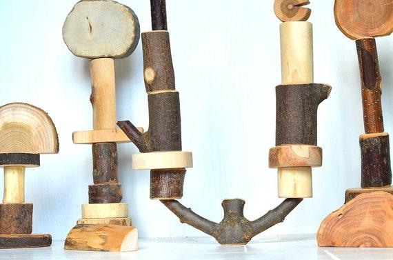 30 blocs de construction de l'arbre, jouet en bois naturel, jouet en bois, blocs de construction bois, waldorf en bois cadeau enfant en bas âge, blocs en bois d'inspiration Montessori