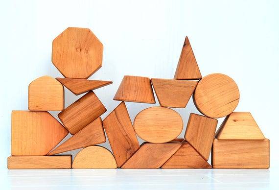20 Wooden Geometric Shapes Blocks Toddler Wood Toys Natural Etsy