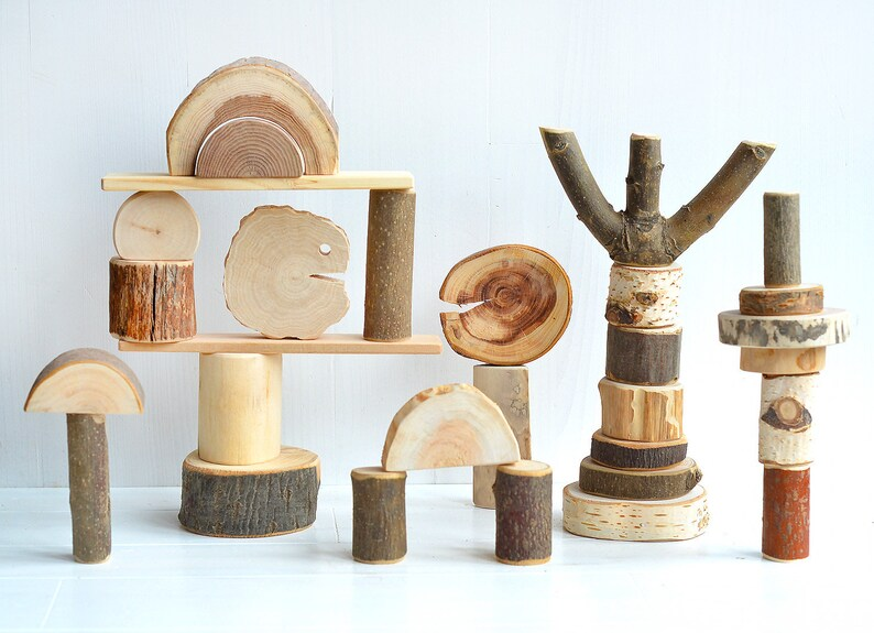 Wood toy, 30 natural tree blocks, Tree wood building blocks, Wood  personalized toy, Montessori inspired baby wooden toy, Waldorf kids gift