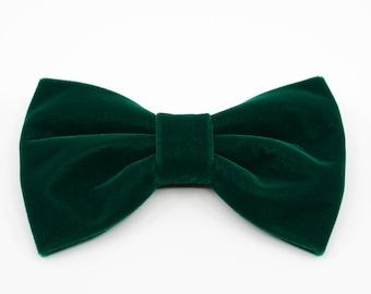 Velvet Bow Tie, Dark Green Bow tie, Butterfly bow tie